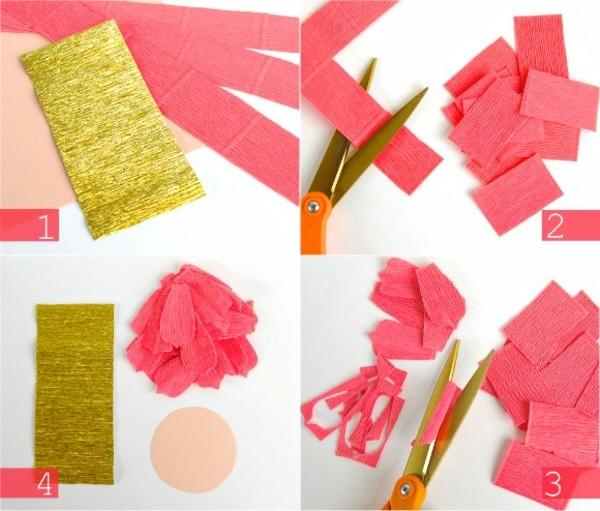 fleur-en-papier-crepon-etapes-avec-ciseaux
