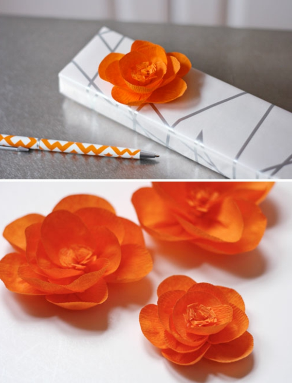 Fleur En Papier Crepon, Idee Pour Usage Dans Un Emballage Cadeau
