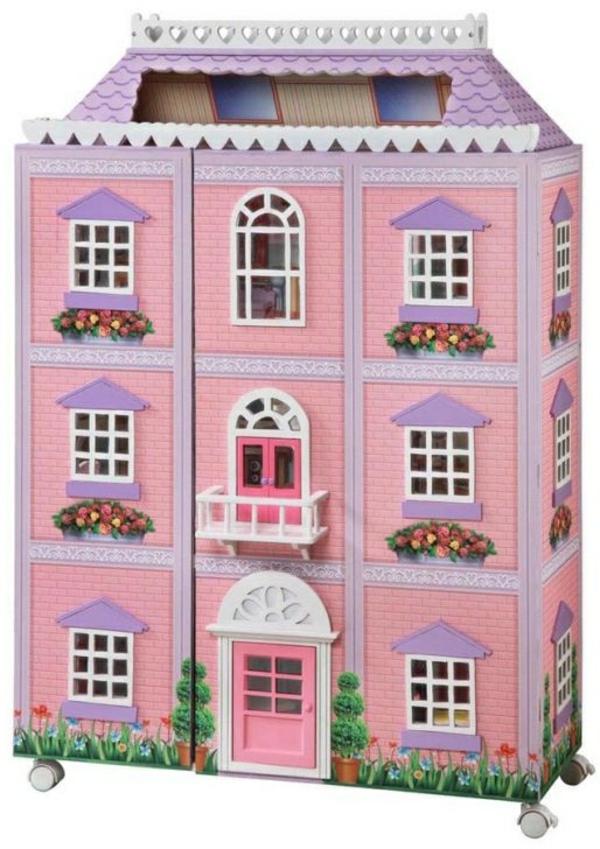 jolie-jouet-maison-en-bois-poupees-rose