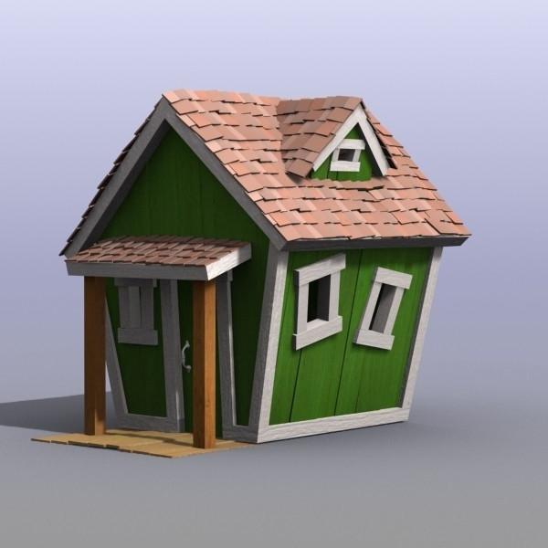 jouet-maison-en-bois-couleurs-vert-et-toiles