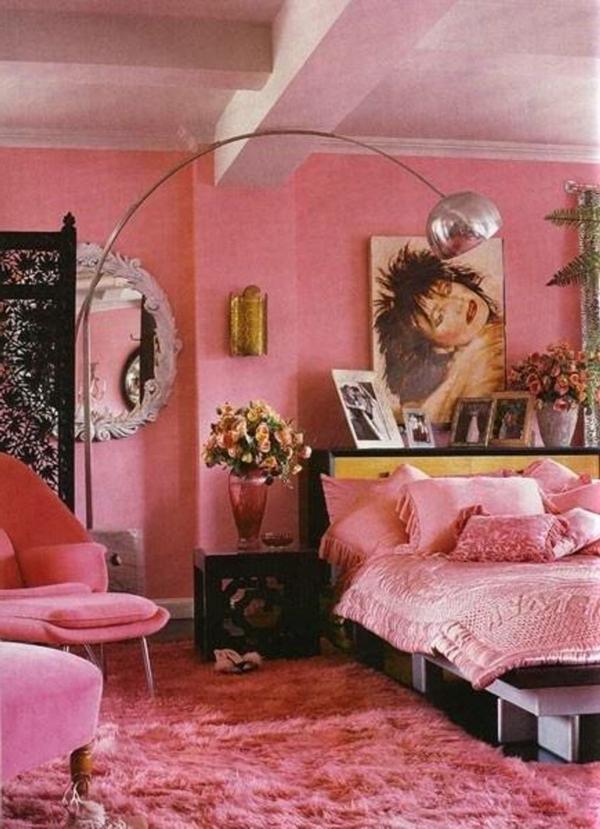 lampadaire-arc-chambre-à-coucher-rose