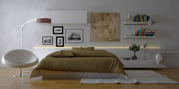 lampadaire-arc-un-lit-beige-et-un-canapé-blanc