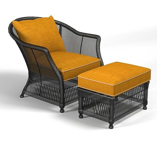 fauteuil-osier-noir-et-des-coussins-jaunes