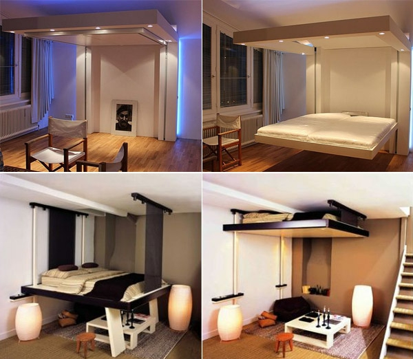 lit plafond bedup est un lit escamotable pratique et design qui se range au plafond il with lit. Black Bedroom Furniture Sets. Home Design Ideas