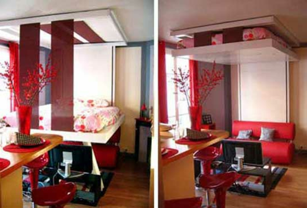 lit-escamotable-plafond-ideale-rouge