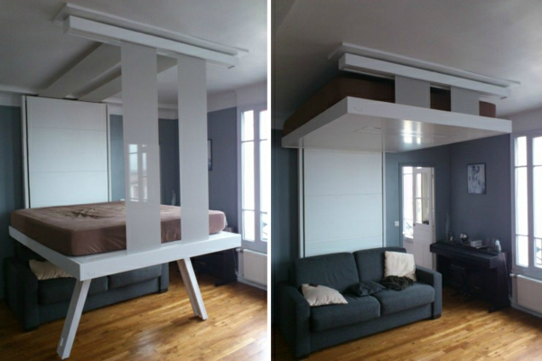 Un lit escamotable plafond pratique et innovant for Lit suspendu
