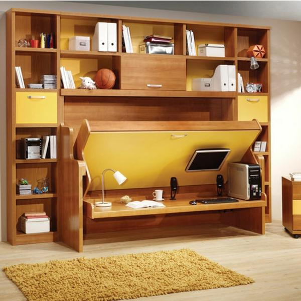 Le lit rabattable est une d cision parfaite pour les for Lit bureau escamotable