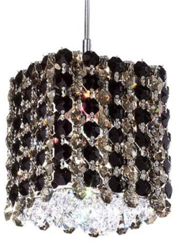 lustre-abat-jour-noir-cristal-moderne