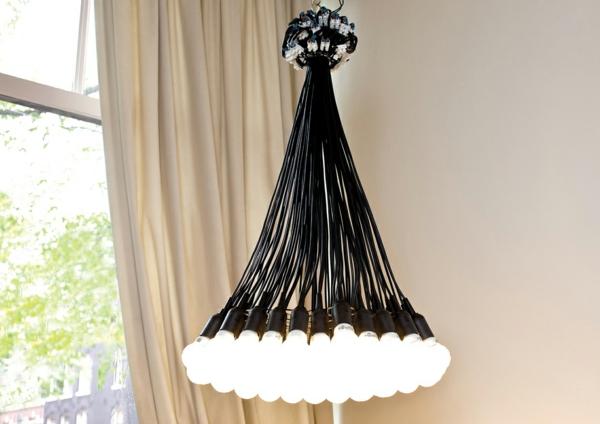 lustre-abat-jour-noir-luxueux-ampoules