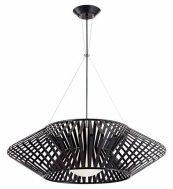 lustre-abat-jour-noir-suspension-metal-chrome