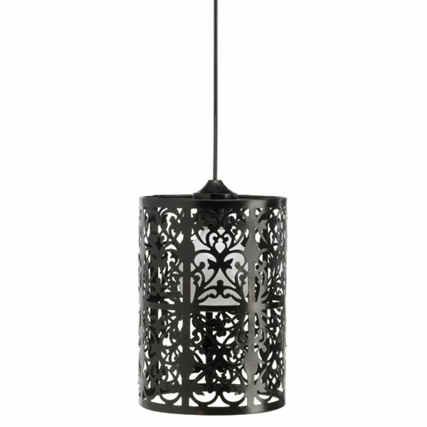 lustre-abat-jour-noir-suspension-metal