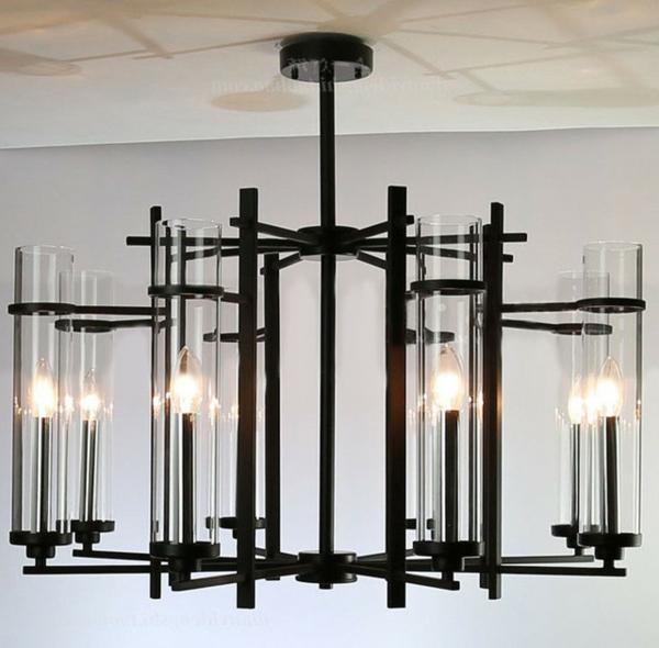 lustre-abat-jour-noir-transparent-verre