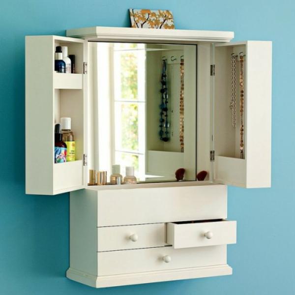 meuble-de-rangement-de-maquillage-petite-armoire-blanche-aux-portes-mobiles-avec-un-miroir-encastré