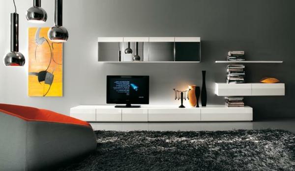 meuble-tv-laqué-blanc-et-une-jolie-peinture-au-mur