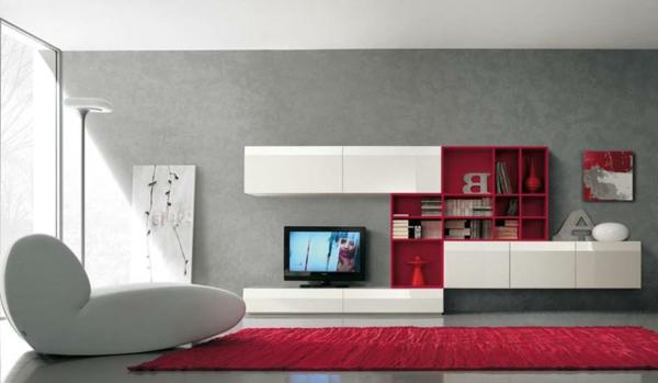 meuble-tv-laqué-blanc-avec-des-cabinets-rouges