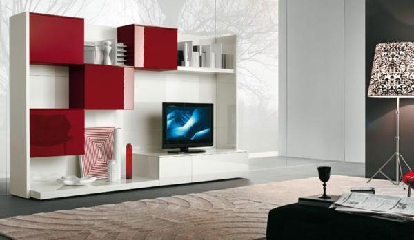 meuble-tv-laqué-blanc-et-des-commodes-rouges
