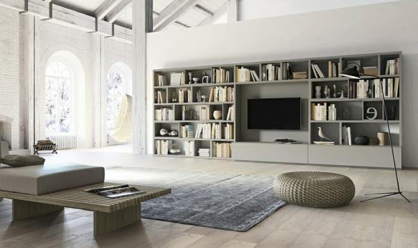 meuble-tv-laqué-blanc-avec-une-bibliothèque