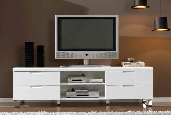 Meuble Tv Magasin Fly : Meuble-tv-laqué-blanc-avec-de-petites-étagères