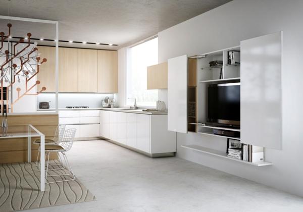 meuble-tv-laqué-blanc-dans-une-cuisine-intéressante