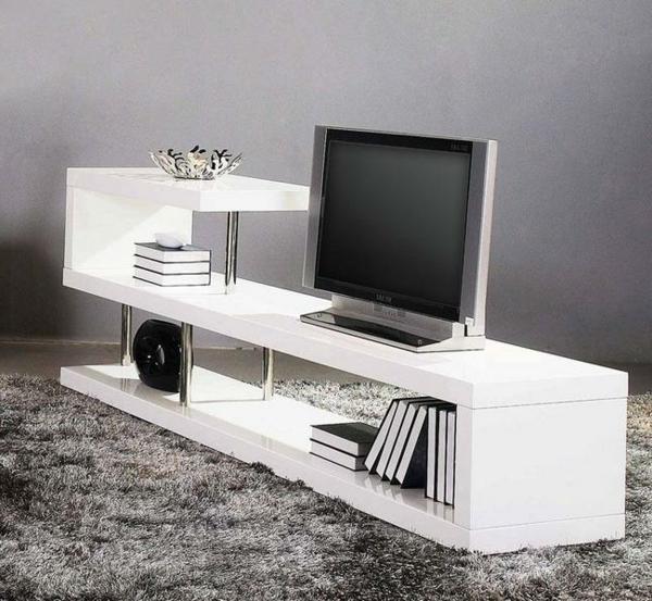 ... un beau style de votre salle de séjour avec un meuble tv laqué blanc