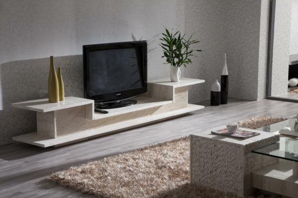 Cr ez un beau style de votre salle de s jour avec un meuble tv laqu blanc - Table pour television ...