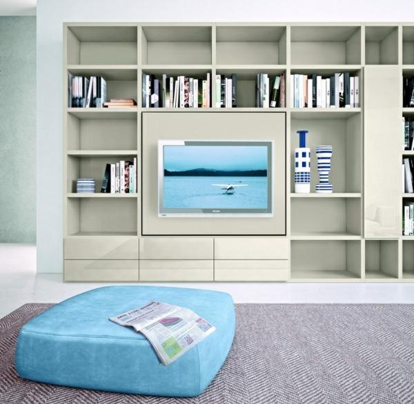 meuble-tv-laqué-blanc-avec-bibliothèque
