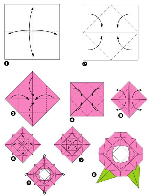 Un origami facile fleur offrir ou pour vous amuser tout en cr ant de bell - Origami facile a faire ...