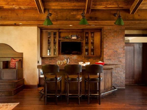 Le papier peint imitation brique donne de la personalit Papier peint meuble cuisine