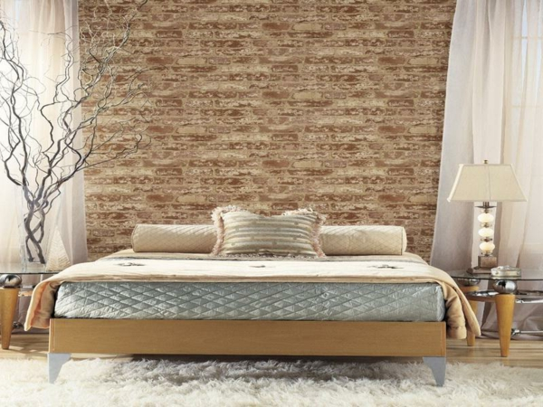Le papier peint imitation brique donne de la personalit for Papier peint pour chambre a coucher
