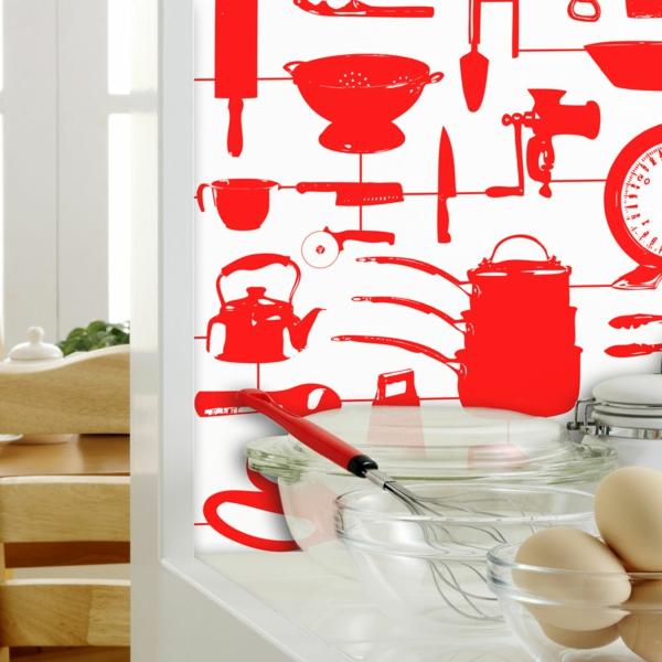 papier-peint-de-cuisine-décoration-murale-en-rouge
