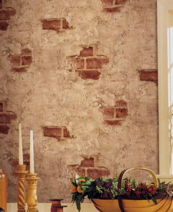 papier-peint-imitation-vieilles-briques-decoration-bougies
