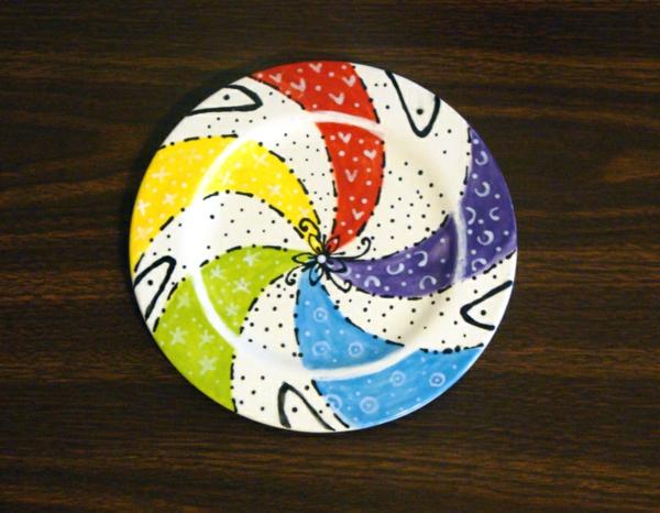 peinture-sur-ceramique-creative-amusante-assiette-etoiles
