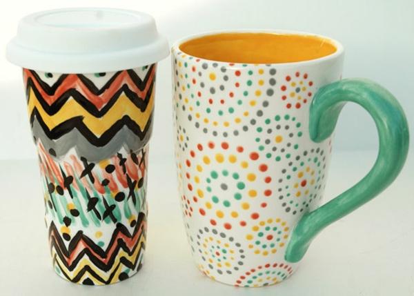 peinture-sur-ceramique-creative-amusante-tasses-decorees