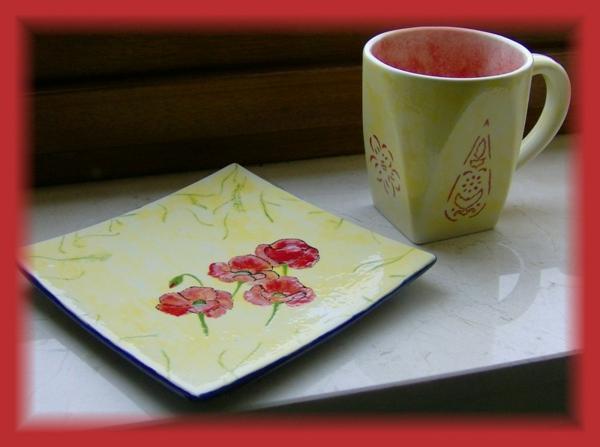 peinture-sur-ceramique-creative-amusante-vaisselle-fleurs