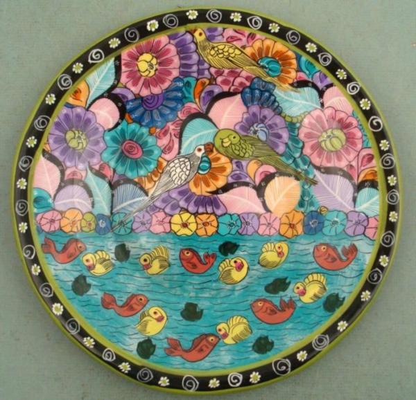 peinture-sur-ceramique-creative-amusante-vaisselle-oiseaux-tropicales