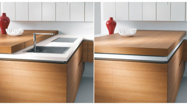 Un plan de travail coulissant donnera plus despace dans votre cuisine