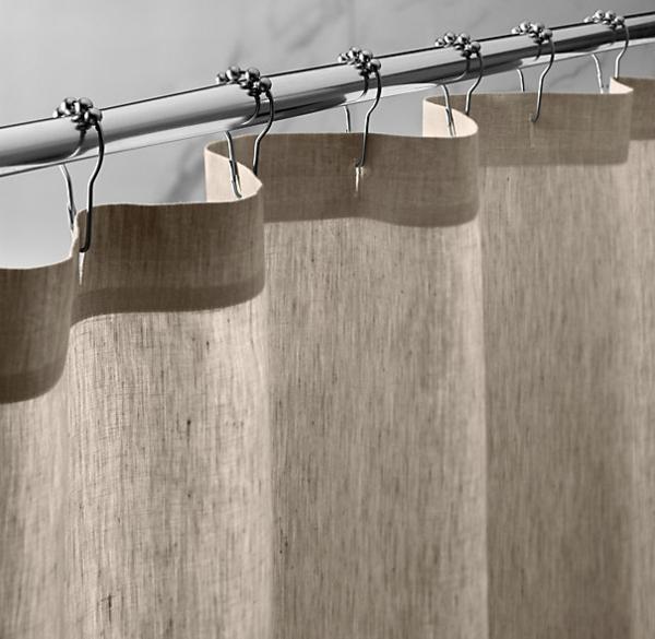 Les rideaux en lin naturel simbolisent le confort et l - Rideaux salle de bain ...