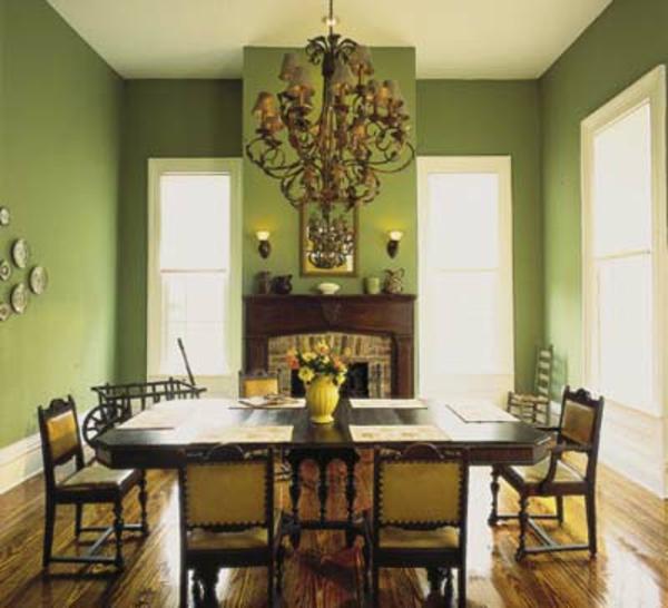 salle-a-manger-au-murs-peints-verts
