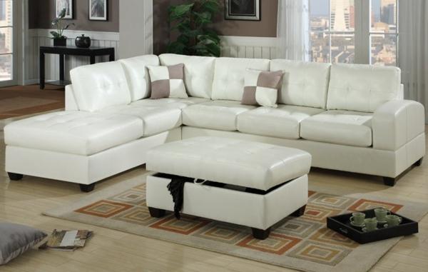 salon-d'angle-cuir-blanc-avec-tapis