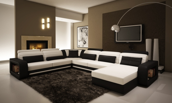 salon-d'angle-cuir-blanc-et-noir