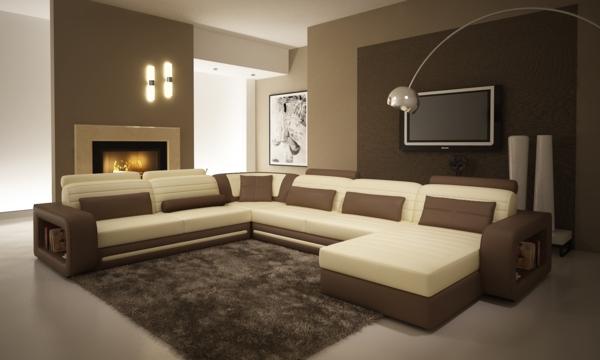 Le salon d 39 angle cuir votre endroit chic pr f r e for Peinture couleur taupe et chocolat