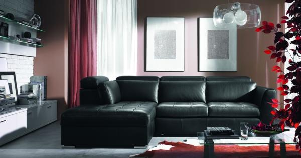 salon-d'angle-cuir-noir-avec-lampe