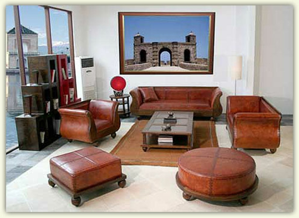 emejing salon marocain en cuire photos amazing house. Black Bedroom Furniture Sets. Home Design Ideas
