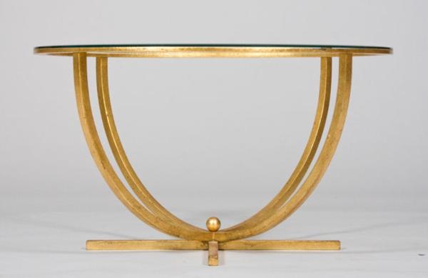 table-basse-en-fer-dorée-et-en-verre