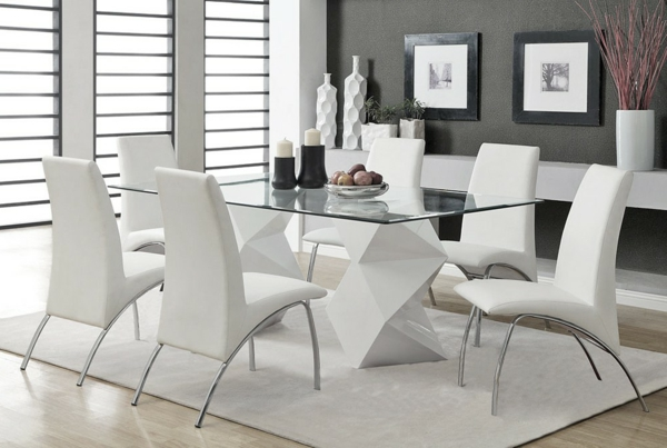 La table laqu e blanche moderne synonyme d 39 l gance pure - Table et chaise blanche ...