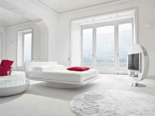 tapis-rond-shaggy-blanc-chambre-a-coucher-moderne