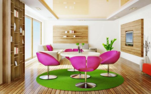 tapis-rond-shaggy-interieur-fascinant-chaises-design