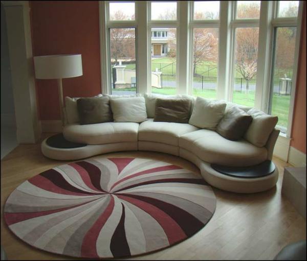 tapis-rond-shaggy-multicolore-laine-soleil