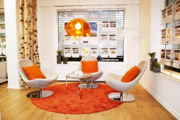 tapis-rond-shaggy-orange