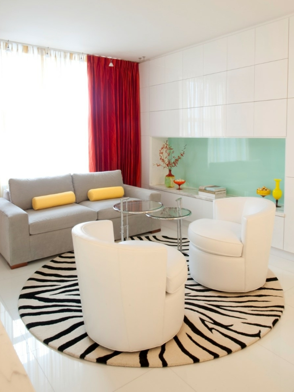 tapis-rond-shaggy-sejour-moderne